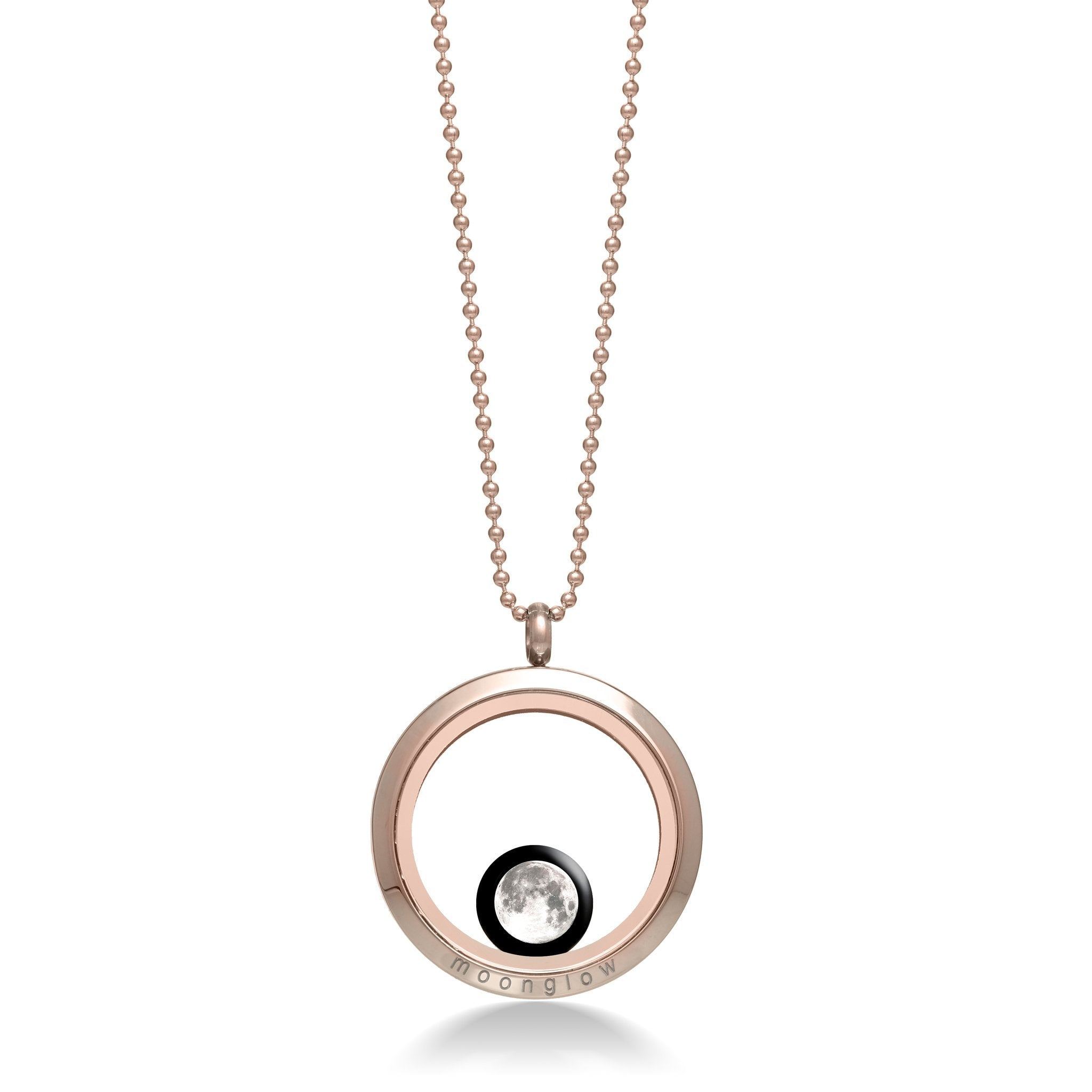 One Moon Locket in Rose Gold