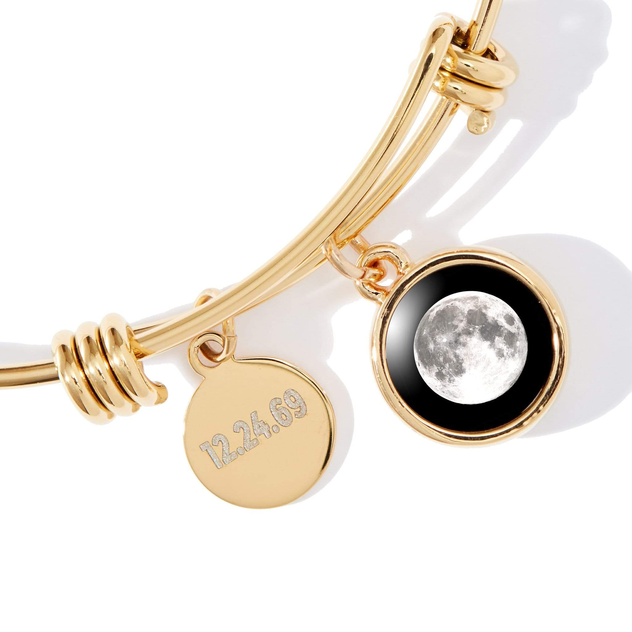 Gold Cosmic Spiral Ring and Modern Moon Bangle Bracelet Bundle