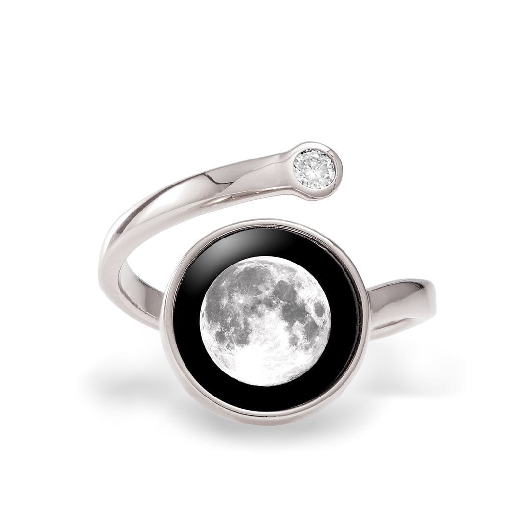 Cosmic Spiral Ring in Rhodium