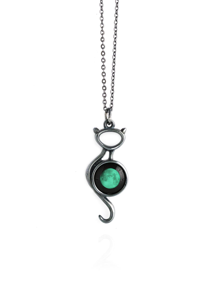 Black Cat on the Moon Necklace