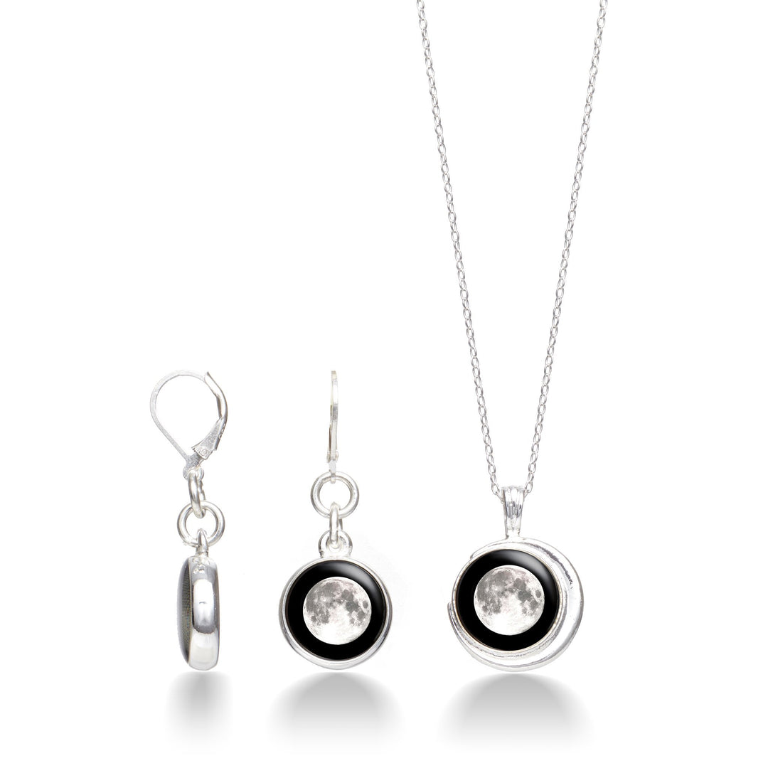 Crescent Necklace in Silver & Celestial Moonrise Earring Set