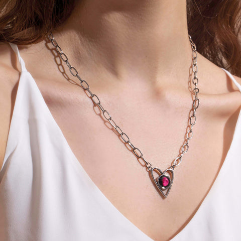 Pink Moon Atlas Link Heart Necklace in Stainless Steel