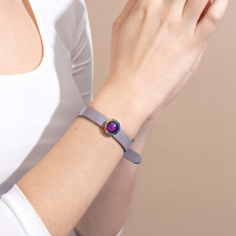 Pink Moon Philautia Rainbow Bracelet with Gray Leather Band