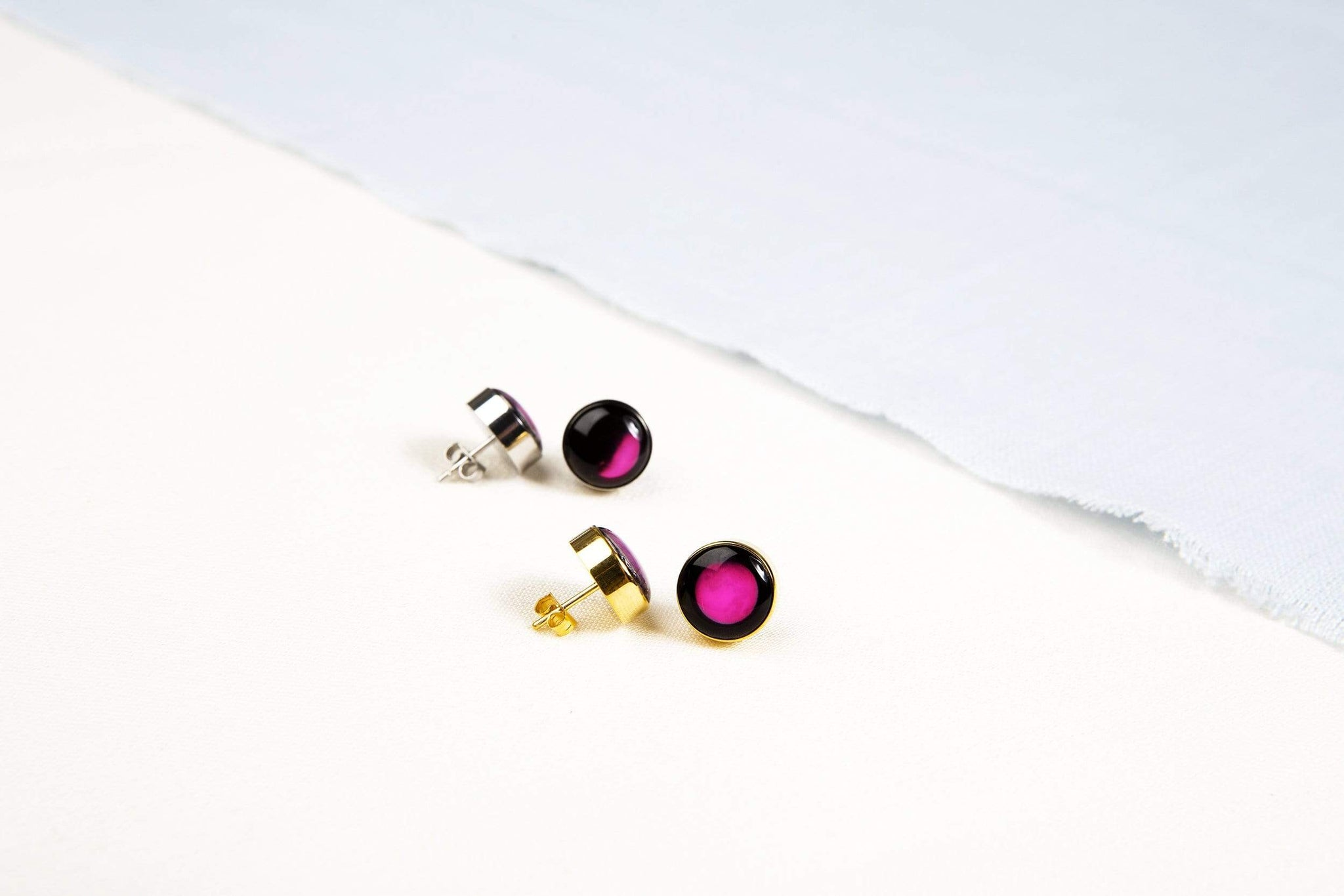 Pink Moon - Moonshine Stud Earrings in Stainless Steel