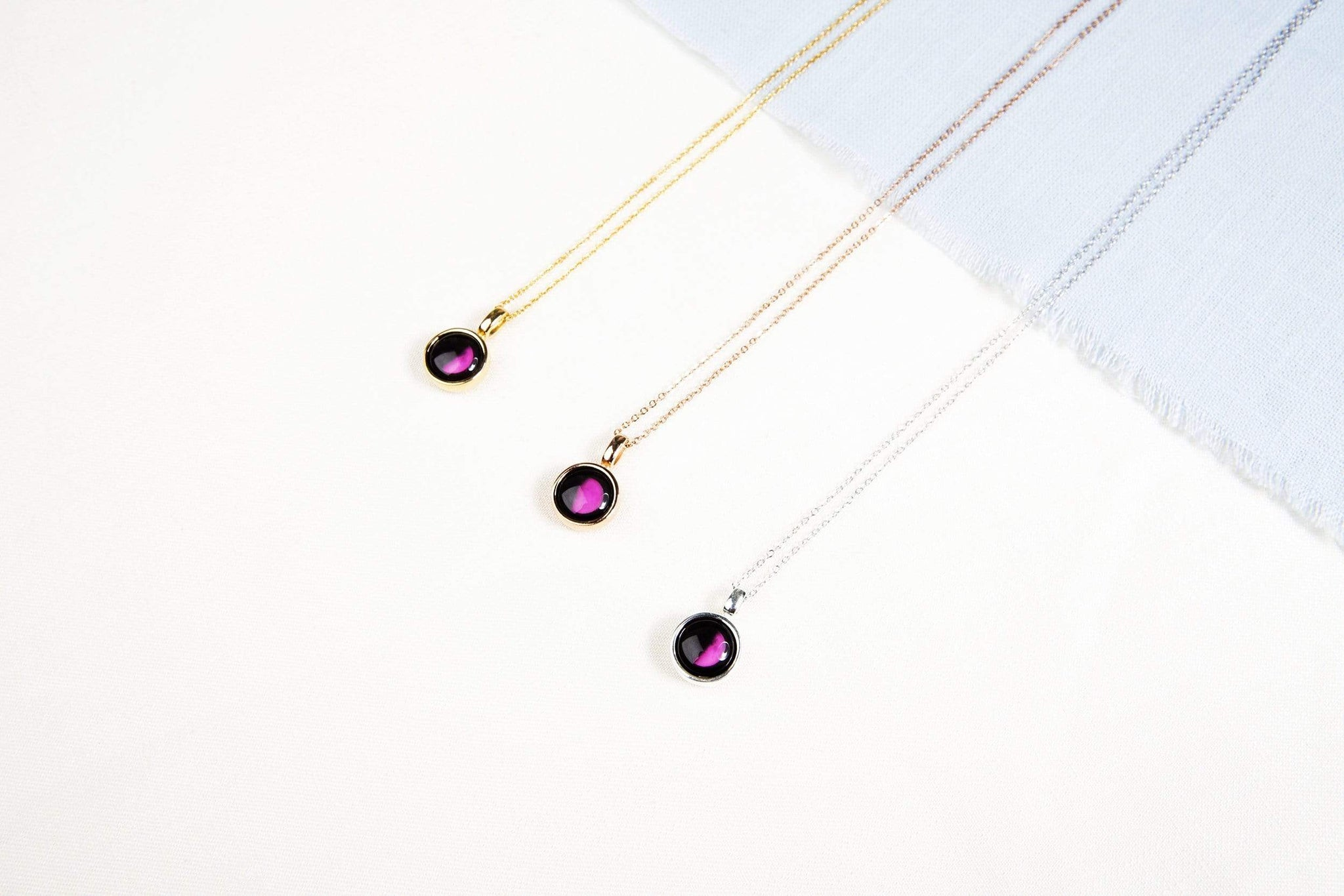 Pink Moon Sky Light Gold Necklace