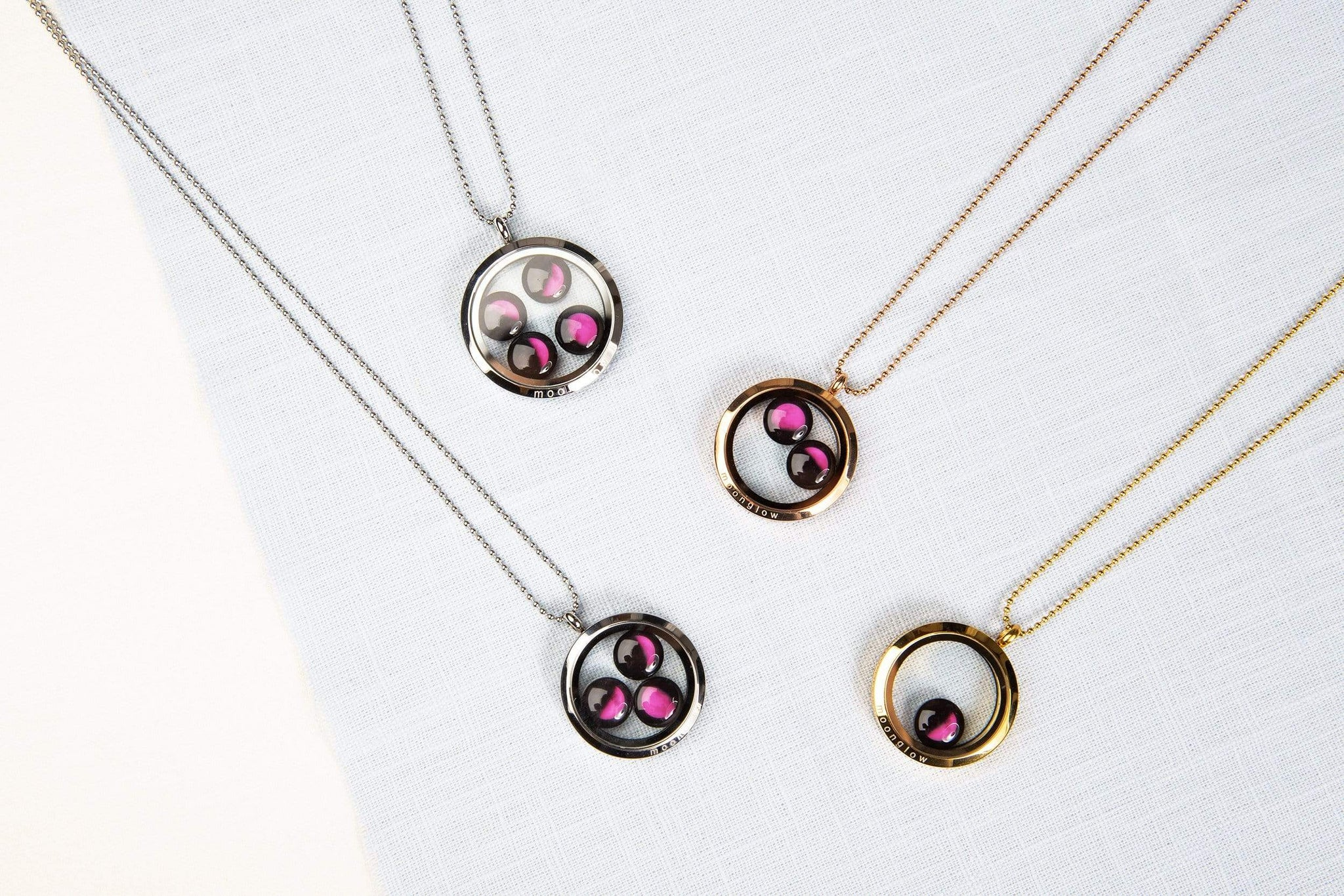 Pink Moon Lovers in the Locket in Gold