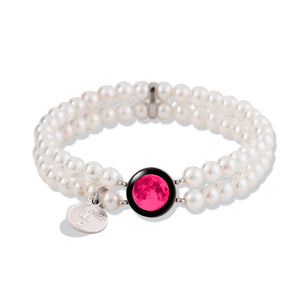 Pink Moon Fille de la Lune Bracelet with White Pearl