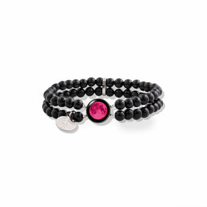 Pink Moon Fille de la Lune Bracelet with Black Pearl