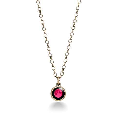 Pink Moon - Moon Brass Necklace for Him and Her