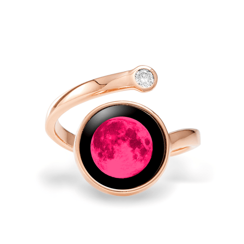 Pink Moon Cosmic Spiral Ring in Rose Gold