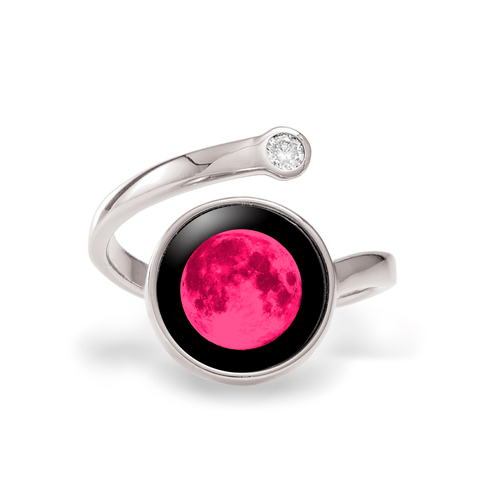 Pink Moon Cosmic Spiral Ring in Rhodium