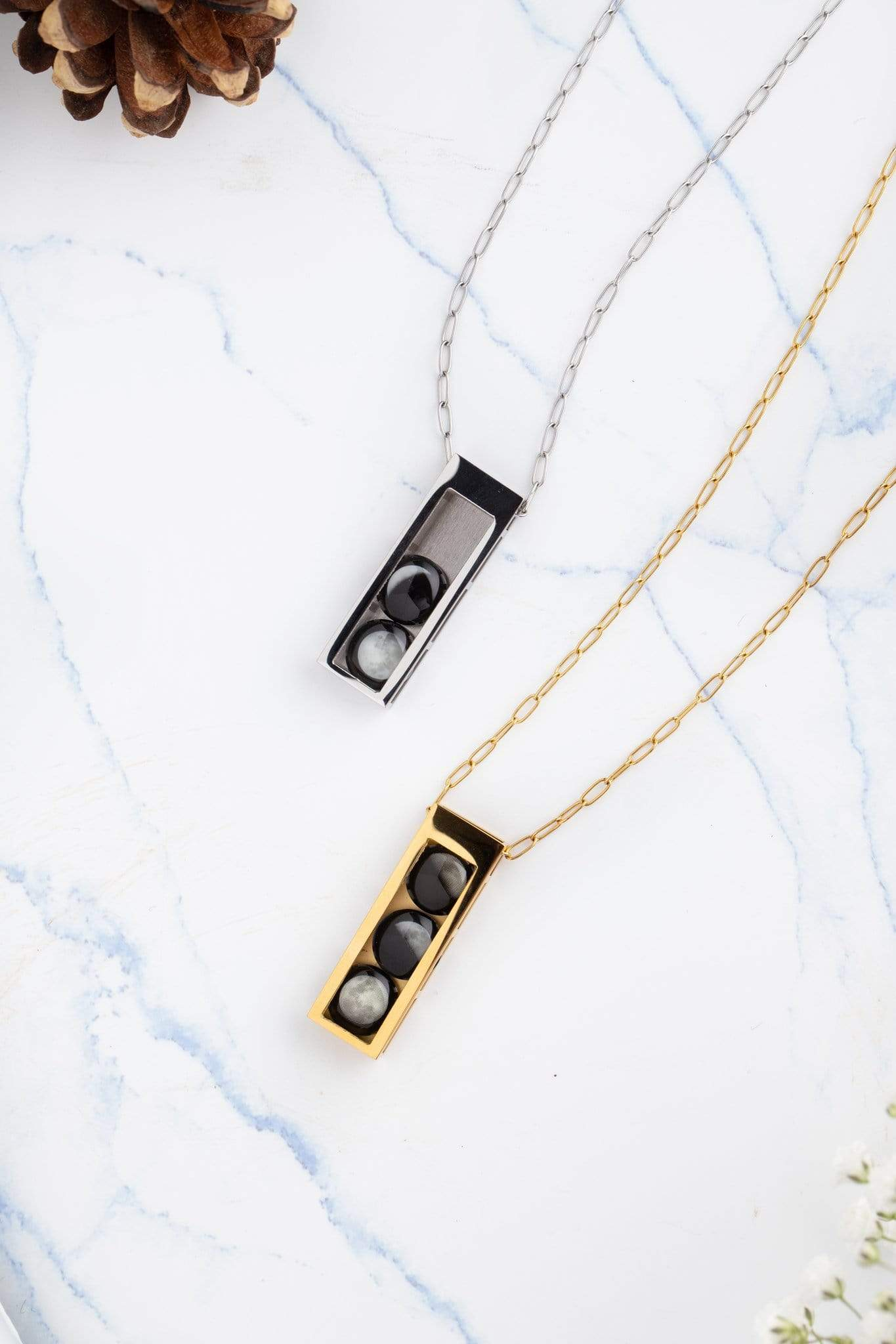 Two Moon Selene Locket in Gold