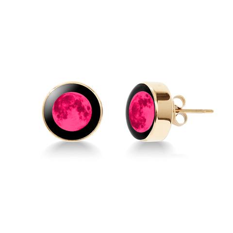 Pink Moon - Moonshine Stud Earrings in Gold