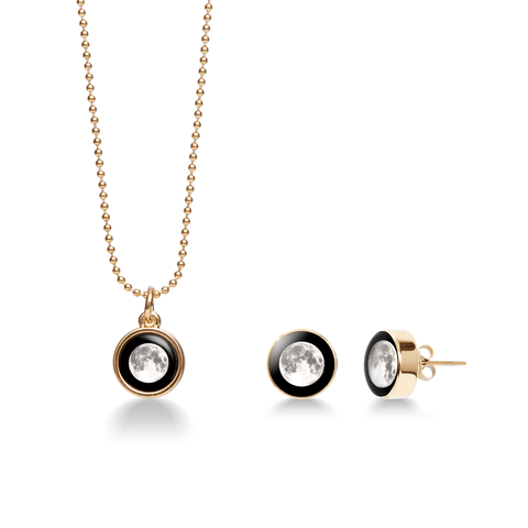 Moonshine Stud Earrings in Gold + Mini Gold Simplicity Necklace Bundle