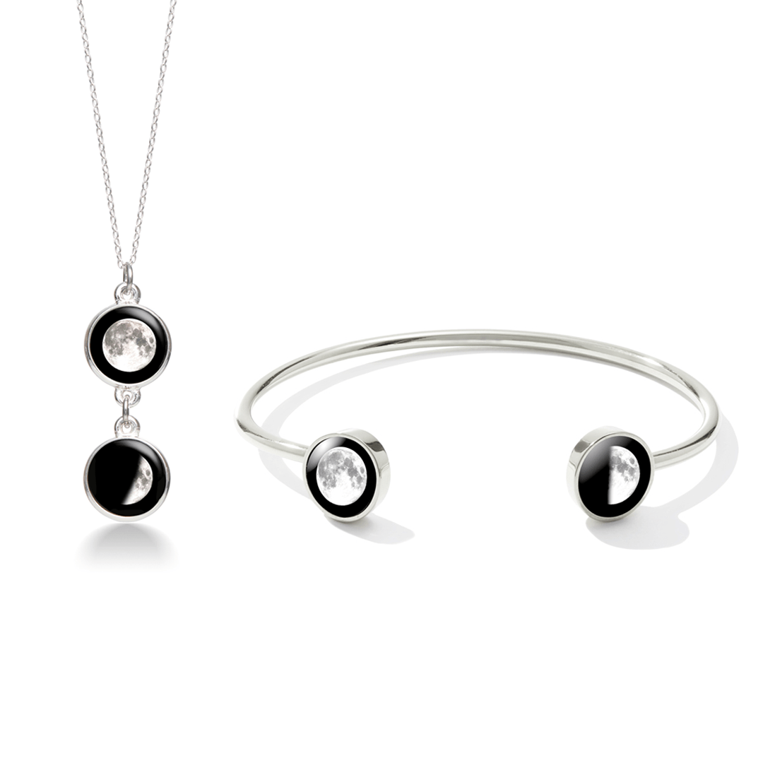 Mini Ituri Necklace and Lunar Dyad Cuff in Stainless Steel Bundle