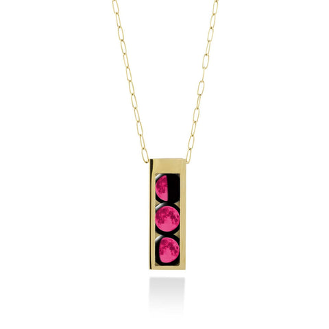 Three Moon Selene Locket in Gold with Pink Moons