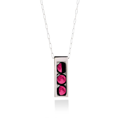 Three Moon Selene Locket in Stainless Steel with Pink Moons