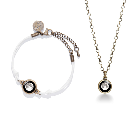 Moon Brass Necklace + Positive Energy Moon Charm Bracelet in White Set