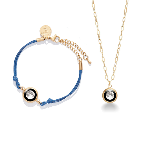 Positive Energy Moon Charm Bracelet in Night Blue + Mini Moon Pendant in Brushed Gold Set