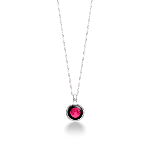 Pink Moon Sky Light Necklace in Silver