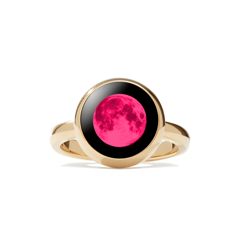 Pink Moon Mini Simplicity Ring in Gold