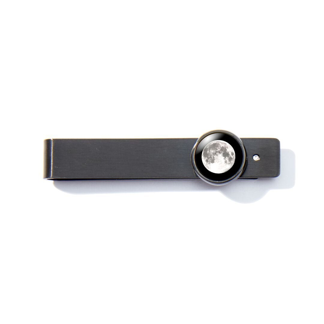 Moon & Crystal Tie Bar in Black