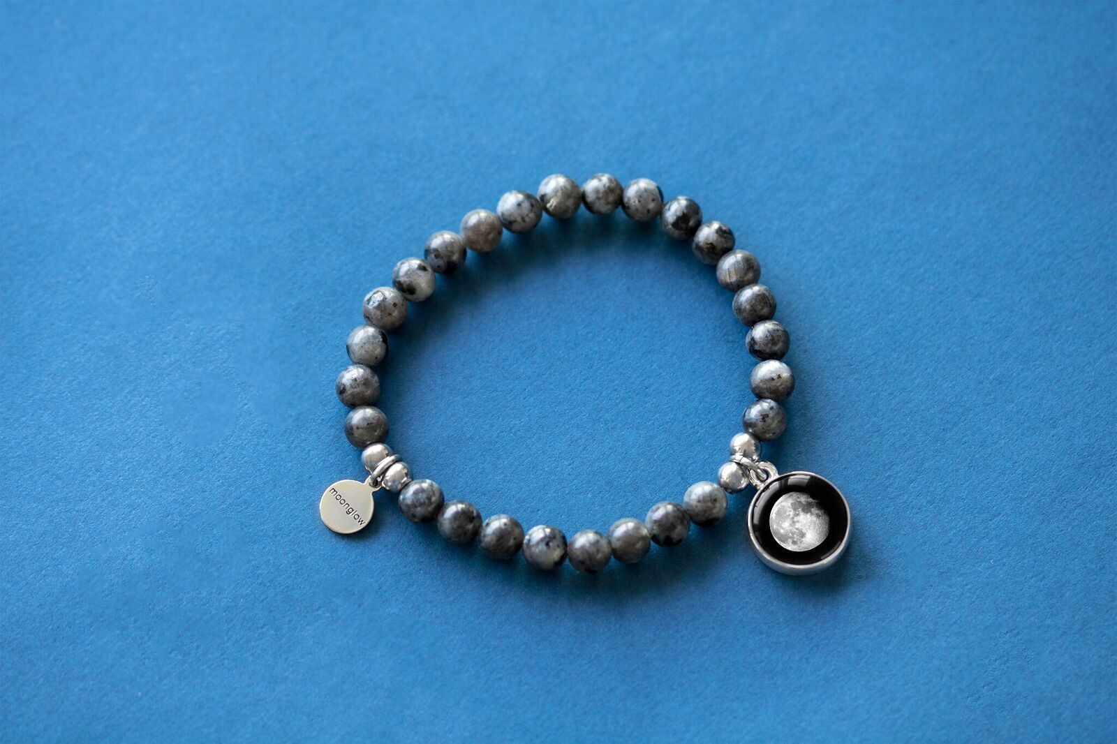 Labradorite Beaded Bracelet in Black