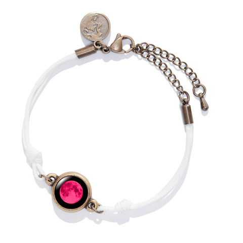 Pink Moon Positive Energy Moon Charm Bracelet in White