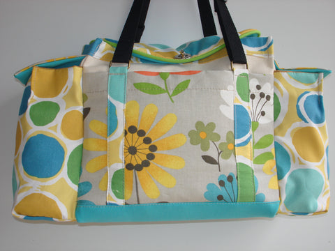 Deluxe Knitting/Crochet Tote Bag/Project Bag/Two Pocket Organizer/Handmade Knitting Bag-PETULA