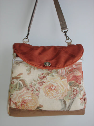 Expandable Tote Bag/School Bag/Book Bag/Diaper Bag-TEA ROSE