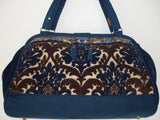 Mary Poppins Style Tapestry Carpet Bag-LADY BLUE