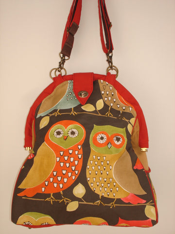Mini-Mary Poppins Backpack/Shoulder Bag/Project Bag/Laptop Bag-HOOTEY OWLS
