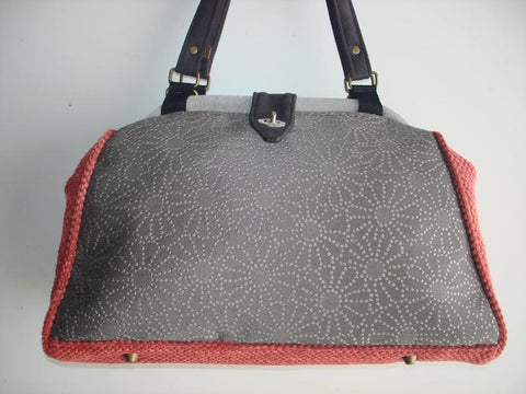 Bella Tapestry Knitting/Crochet Handbag/Tapestry tote purse/ Women's handmade handbag/-PEWTER PUNCH