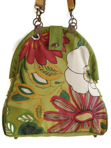 Mini-Mary Poppins Handmade Backpack/ Book bag/ Project bag/ Knitting Bag-RAIN FOREST