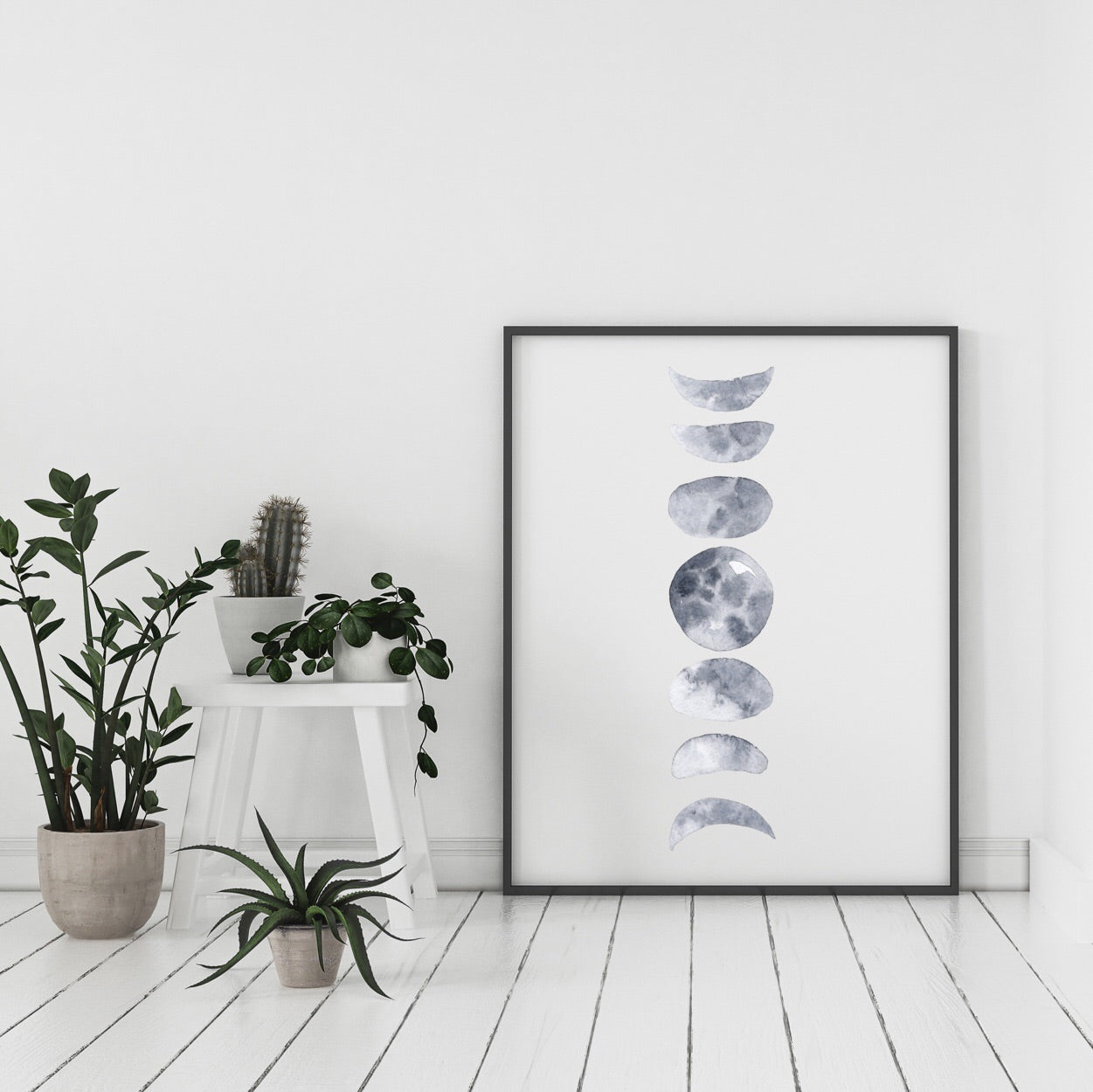 Moon Phase in White Print - Vertical