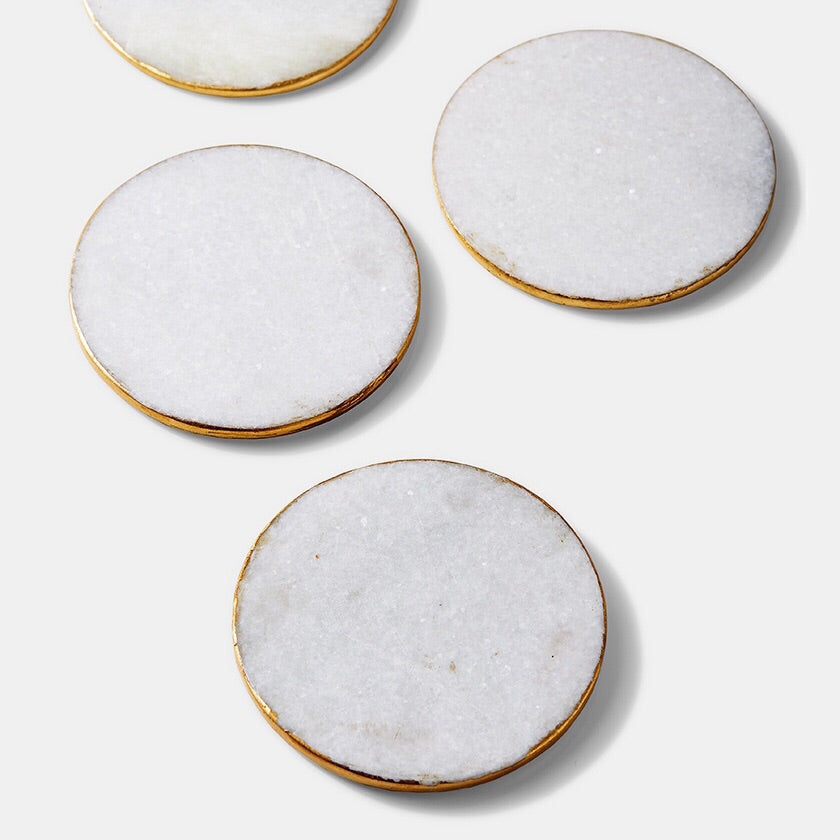 Marble Gold Rimmed Coasters - Set of 4