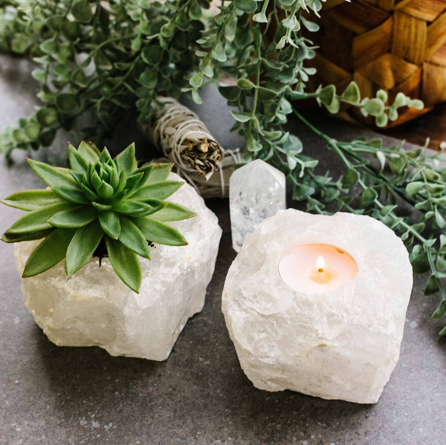 Rough Quartz Candle Holder
