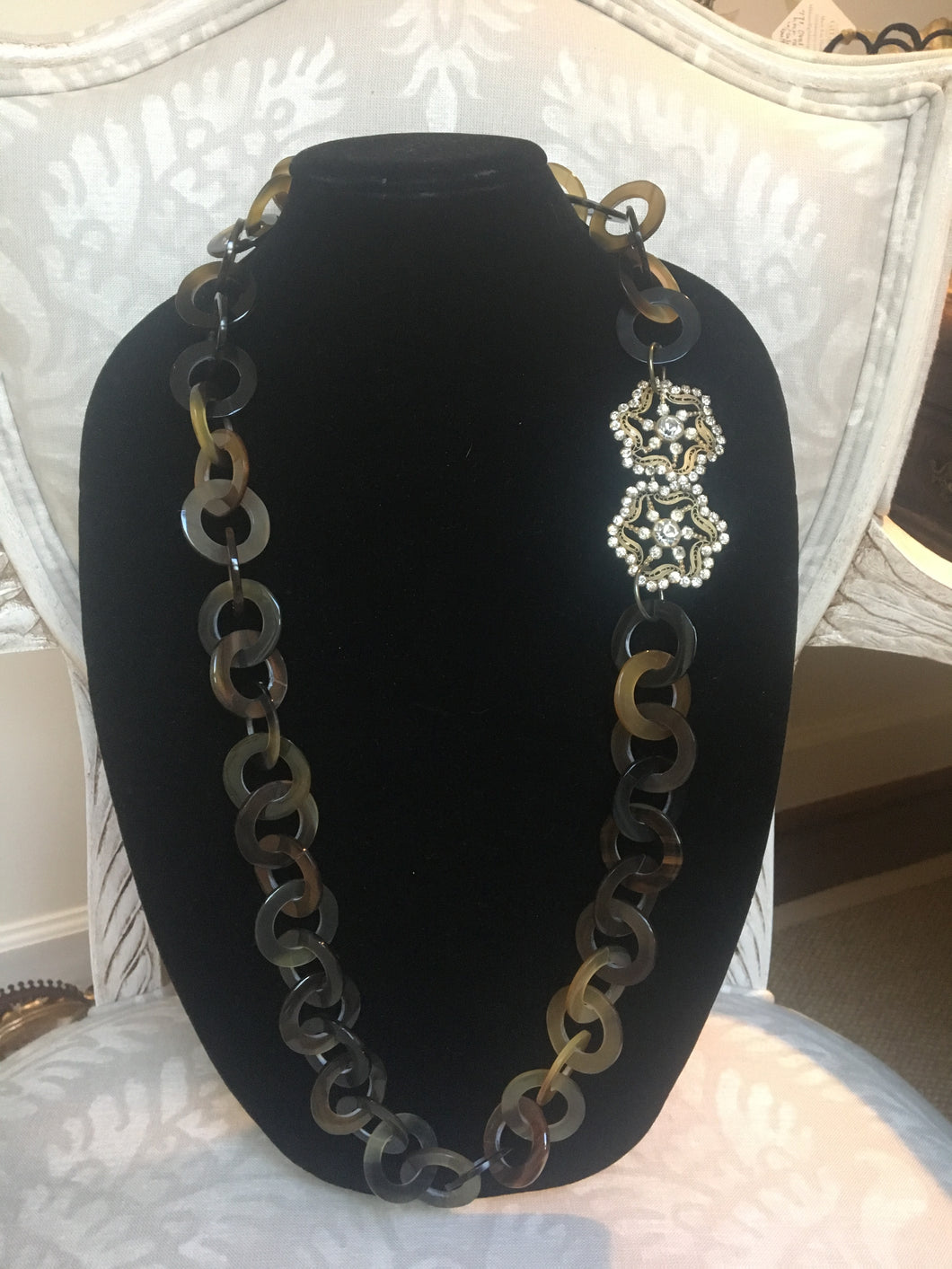 Horn Necklace with Edwardian Buckle