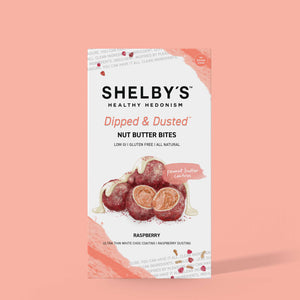 Dipped & Dusted Raspberry & White Choc Nut Butter Bites