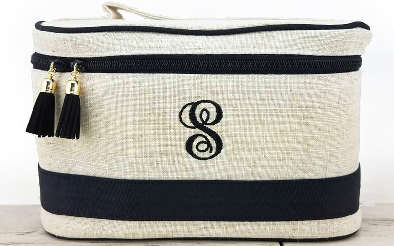 Monogrammed Cosmetic Case in linen with black trim