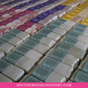 Rows of various Southern Girl Soaps in a variety of scents and colors