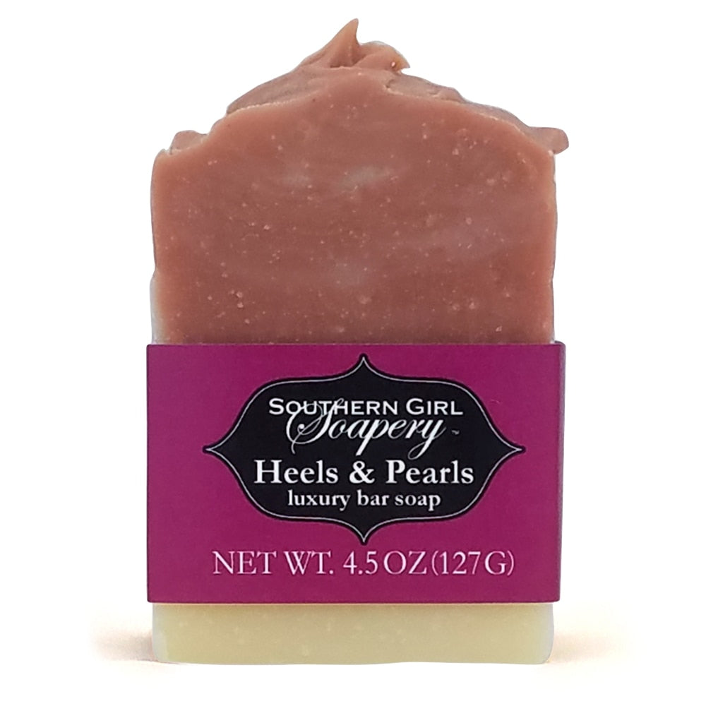 4.5 ounce Southern Girl Soapery Heels & Pearls Bar Soap with decorative top, pink and white swirls, and pink label