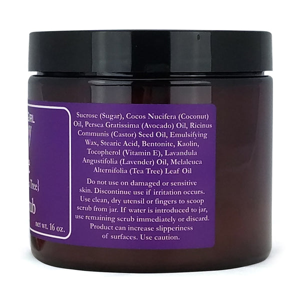 1 pound jar of Southern Girl Belle Sugar Scrub with side view of purple ingredient label