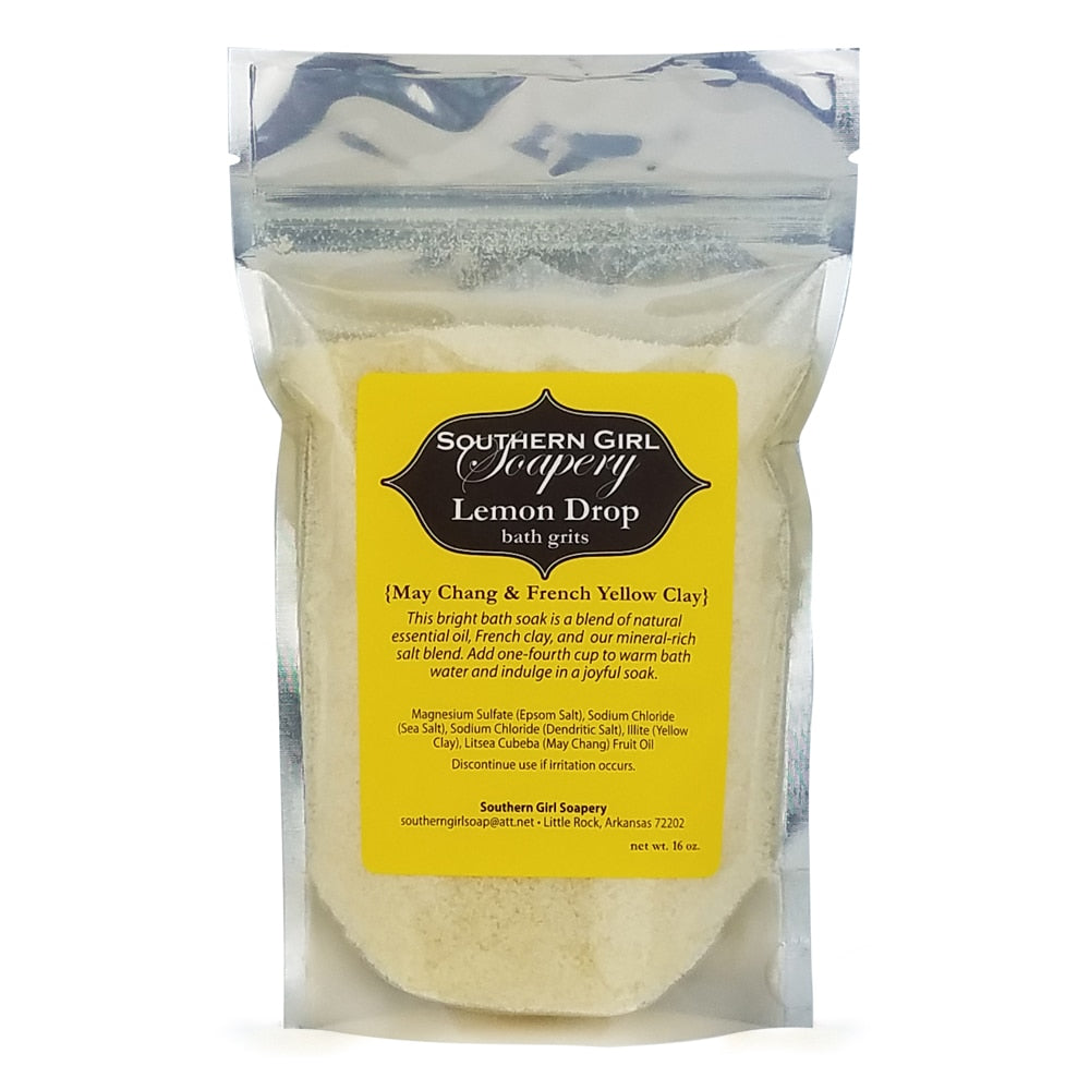16 ounce pouch of Southern Girl Soapery Lemon Drop Bath Grits lemon scented bath salts with yellow label