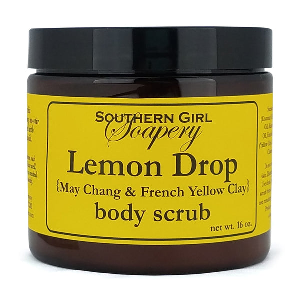 16 ounce jar of Southern Girl Soapery Lemon Drop Body Scrub with yellow label