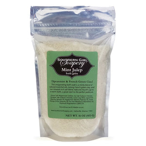 16 ounce pouch of Southern Girl Soapery Mint Julep Bath Grits spearmint scented bath salts with mint green label
