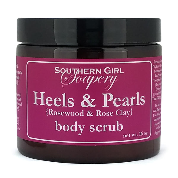 16 ounce jar of Southern Girl Soapery Heels & Pearls Body Scrub with pink label