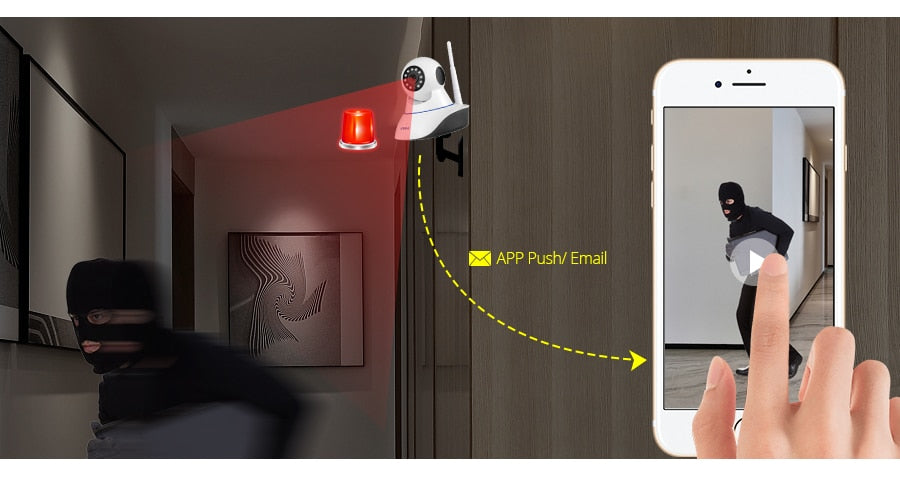 WIFI Home Alarm Systems, with 2ps Indoor WIFI Camera + 2ps Outdoor Camra