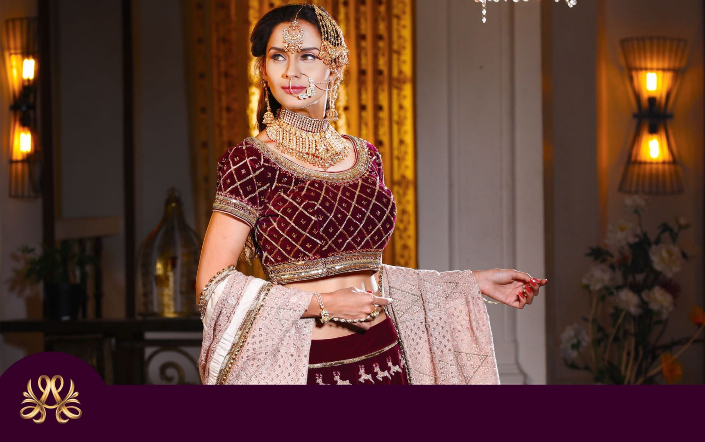 look book page 10 model wearing bridal lehenga and bridal jewellery