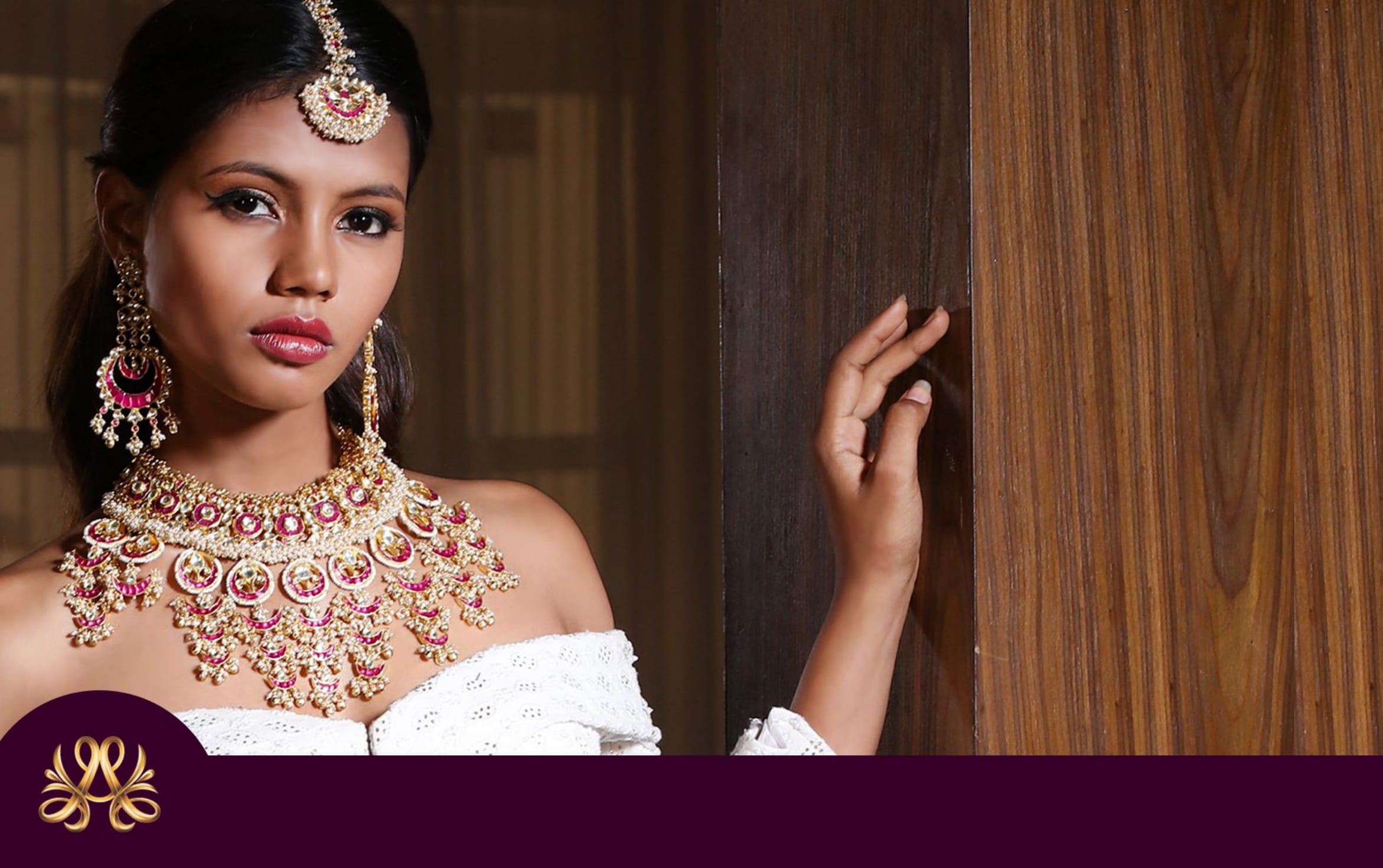 look book page one model wearing white gown and kundan jewellery